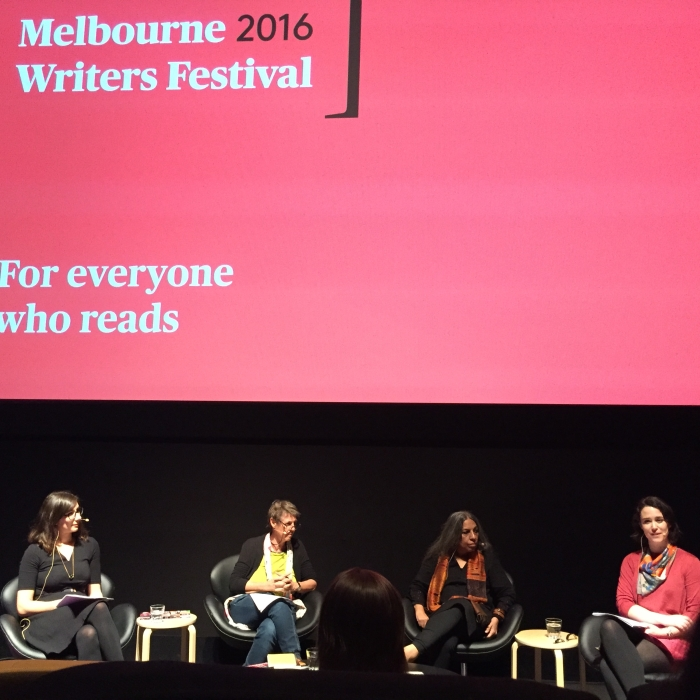 From left to right: Marisa Pintado, Susan Hawthorne, Urvashi Butalia and Alice Grundy